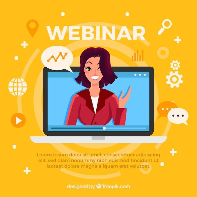 Webinarontwerp met vrouw in laptop Premium Vector
