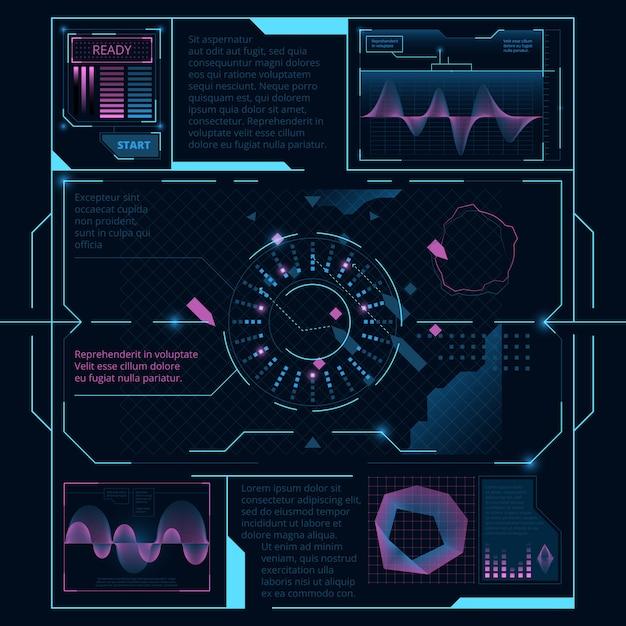 Webinterface voor weergave op scherm voor ruimteschip, hud ui Premium Vector