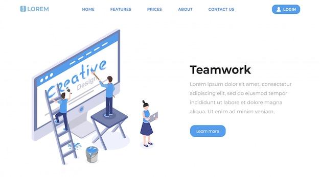 Webontwerpers teamwerk isometrische bestemmingspagina. Premium Vector
