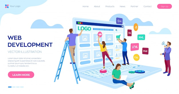 Webontwikkeling landingspagina websjabloon. projectteam van ingenieurs voor website creëren Premium Vector