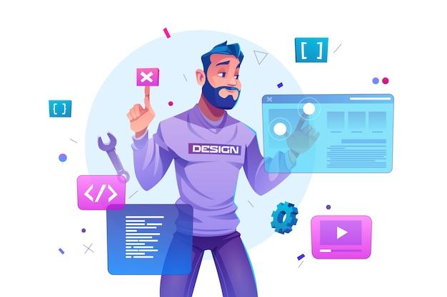 Webontwikkeling, programmeertechniek en coderingswebsite op augmented reality-interfaceschermen. ontwikkelaar projectingenieur programmeersoftware of applicatieontwerp, cartoon afbeelding Gratis Vector