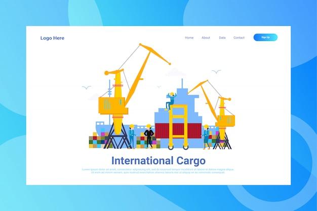 Webpagina header internationale vrachtillustratie concept bestemmingspagina Premium Vector