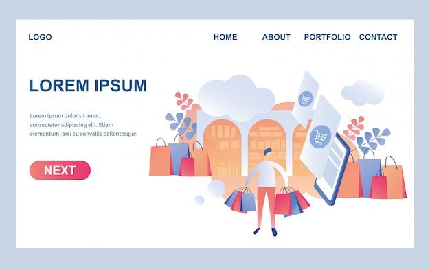 Webpagina ontwerpsjabloon voor trendy winkel Premium Vector