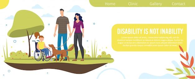 Webpagina voor ondersteuning van gehandicapte kinderen Premium Vector