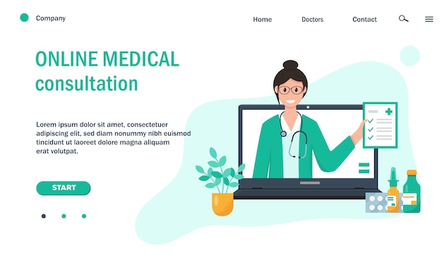 Webpaginasjabloon met vrouwelijke arts op computerscherm en medicatie voor website. Premium Vector