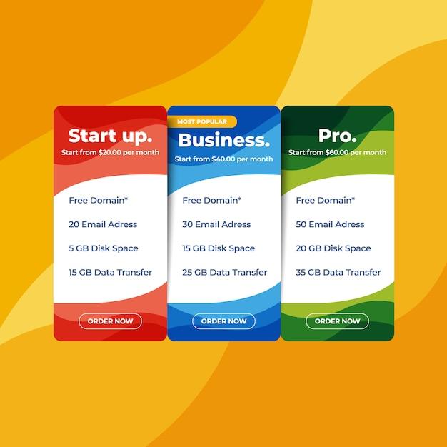 Webprijslijst hosting prijs websiteontwerp Premium Vector
