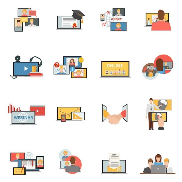 Websamenwerking webinar vlakke pictogrammen instellen Gratis Vector
