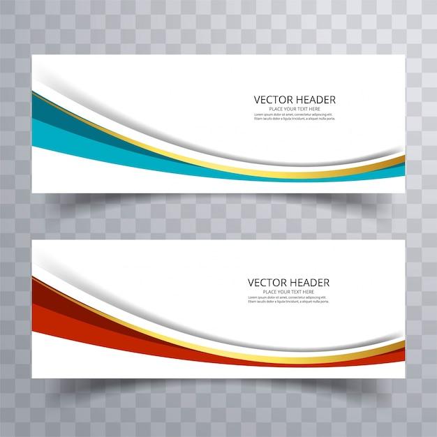 Website bannerontwerp met golf achtergrond Gratis Vector