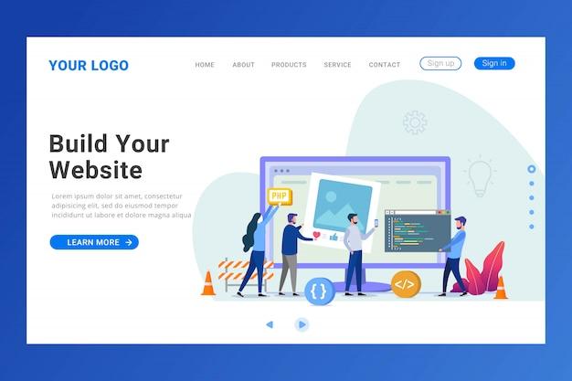 Website builder bestemmingspagina sjabloon Premium Vector