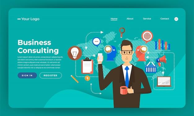 Website concept digitale marketing. bedrijfsadviesoplossing. illustratie. Premium Vector