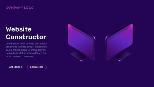 Website constructor isometrische concept Gratis Vector
