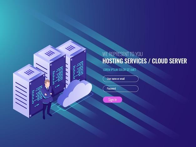 Website hosting isometrisch, cryptocurrency en blockchain concept. Gratis Vector