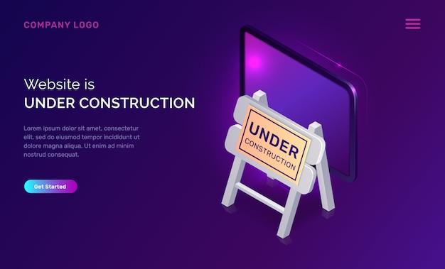 Website in aanbouw, onderhoudswerkzaamheden fout Gratis Vector