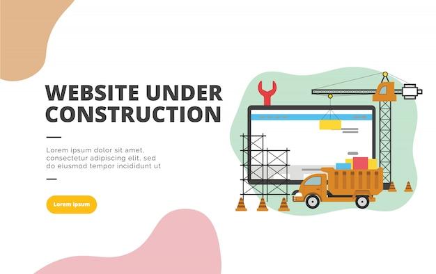 Website in aanbouw platte ontwerp banner illustratie Premium Vector