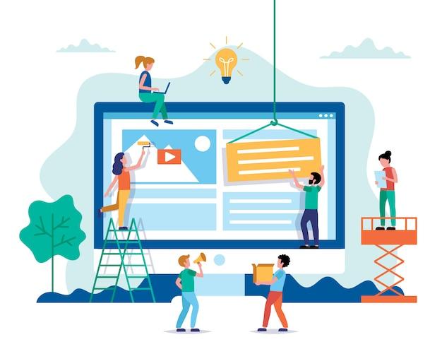 Website ontwerp - een website bouwen, werken aan layout. Premium Vector