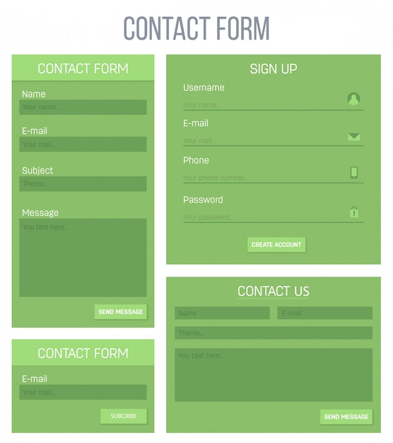Website registratie of login contact ui Premium Vector