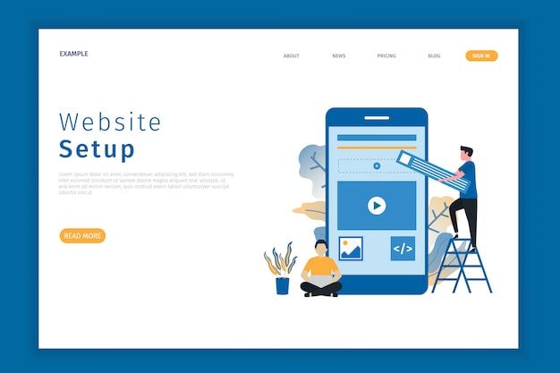 Website setup illustratie bestemmingspagina Premium Vector