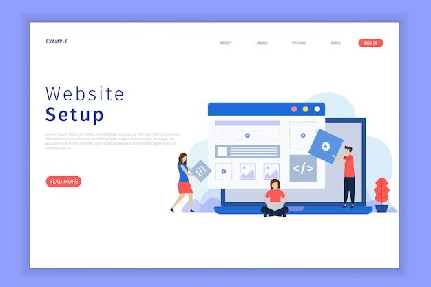 Website setup illustratie webpagina. Premium Vector