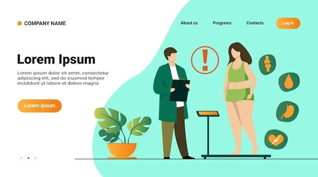 Website sjabloon, bestemmingspagina met illustratie van dikke patiënt bezoekende arts Gratis Vector