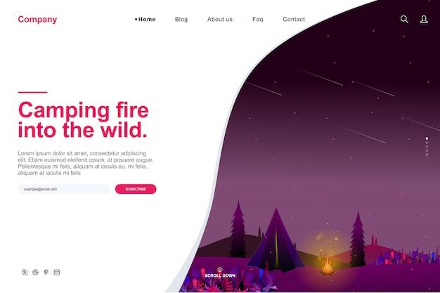 Website sjabloon in zomer camping concept Premium Vector