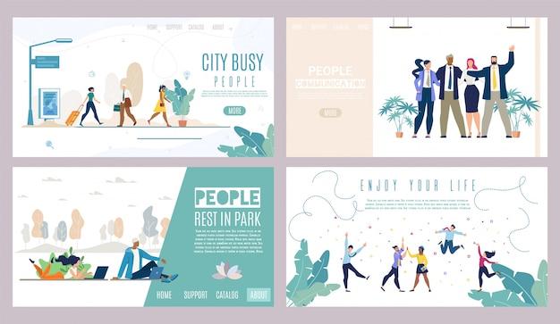 Website sjabloon of landingspagina set. succesvolle mensen, stadsleven Premium Vector