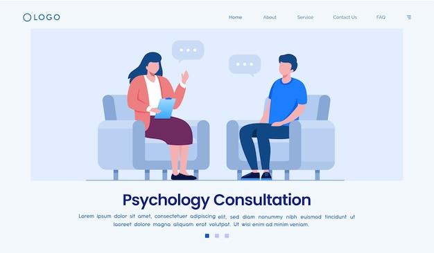 Website sjabloon voor bestemmingspagina voor psychologie Premium Vector