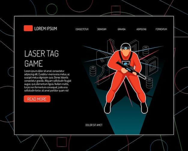 Website sjabloon voor lasergame spel concept regels apparatuur biedt isometrisch ontwerp met speler met pistool Gratis Vector