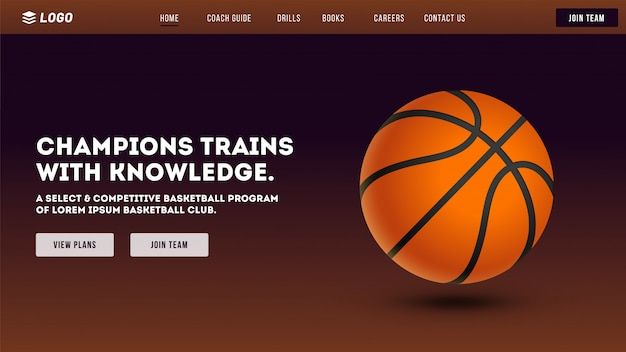 Website van de basketbalclub. Premium Vector