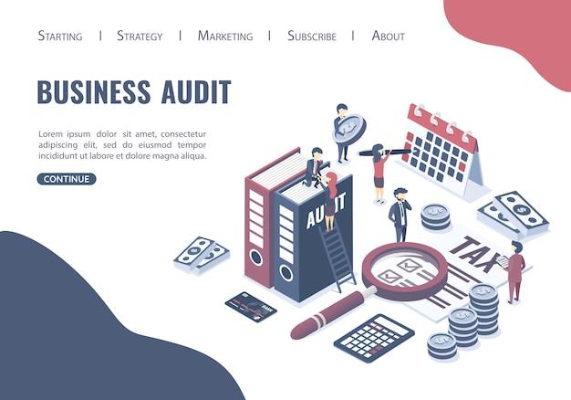 Website voor bestemmingspagina websjabloon. het concept van bedrijfsauditing. Premium Vector