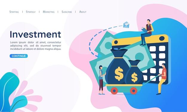Website voor bestemmingspagina websjabloon. het concept van investeringen. Premium Vector