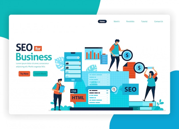 Website voor marketingoptimalisatie met seo. Premium Vector