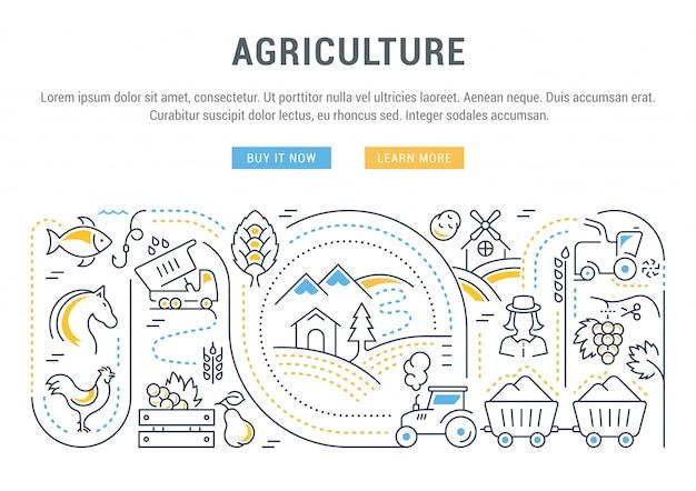 Websitebanner en landingspagina van de landbouw. Premium Vector