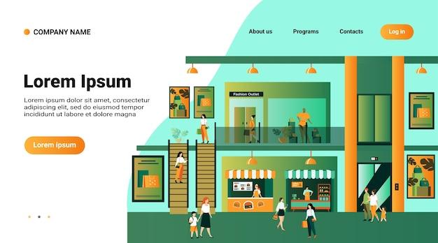 Websitemalplaatje, bestemmingspagina met illustratie van warenhuisinterieur met klanten. mensen winkelen in het winkelcentrum van de stad, lopen door hallen van gebouwen langs ramen, met tassen Gratis Vector