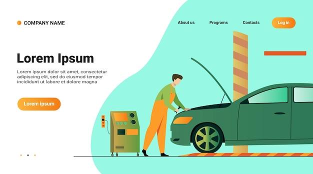 Websitemalplaatje, landingspagina met illustratie van automonteur die voertuigmotor geïsoleerde vlakke vectorillustratie repareren Gratis Vector