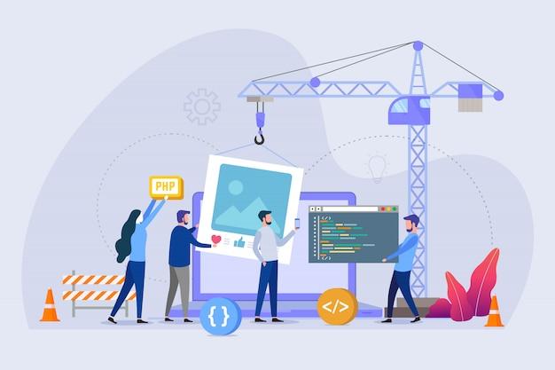 Websitepagina in aanbouw vector illustratieconcept Premium Vector