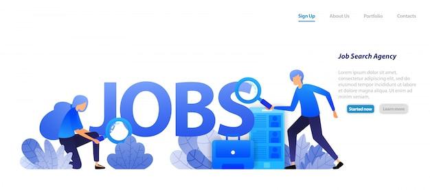 Websjabloon bestemmingspagina. agenten die banen vinden voor werkzoekenden en bedrijven die professionele werknemers nodig hebben voor een sollicitatiegesprek. Premium Vector