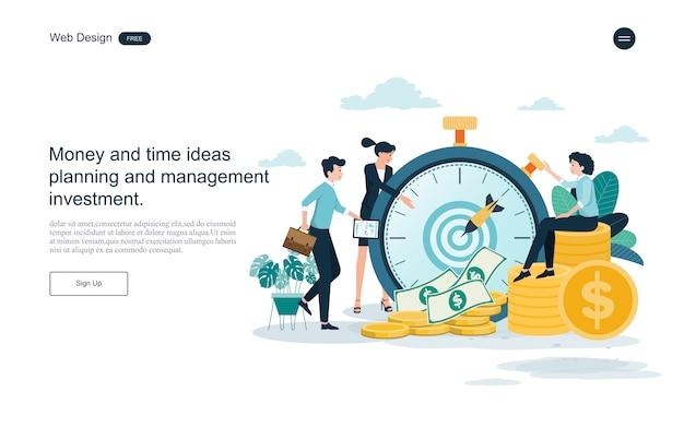 Websjabloon bestemmingspagina. bedrijfsconcept voor tijd en geld besparen. Premium Vector