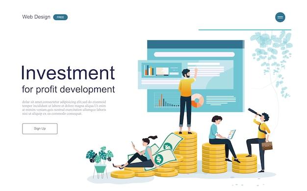 Websjabloon bestemmingspagina. concept voor financiële en investeringen. return on investment. Premium Vector