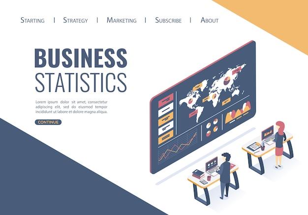 Websjabloon bestemmingspagina. isometrische vectorillustratie. conceptanalyse van gegevens, statistisch onderzoek. de beste oplossingen vinden om bedrijfsideeën te promoten Premium Vector