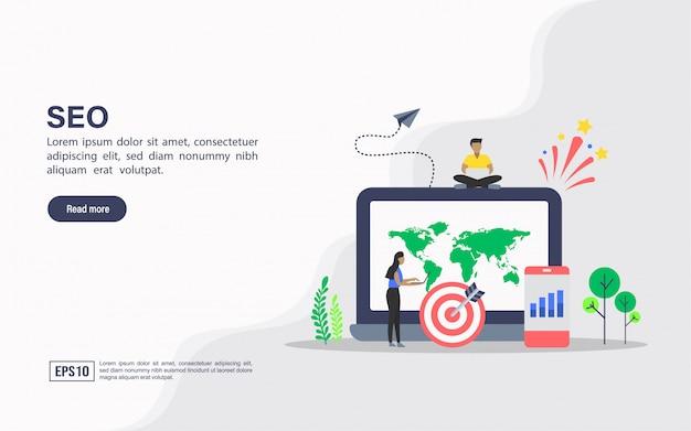 Websjabloon bestemmingspagina van seo Premium Vector