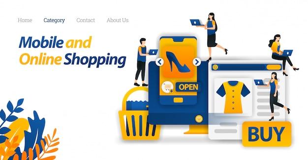Websjabloon bestemmingspagina voor koopbehoeften en levensstijlen alleen met mobiel en online winkelen of e-commerce. Premium Vector