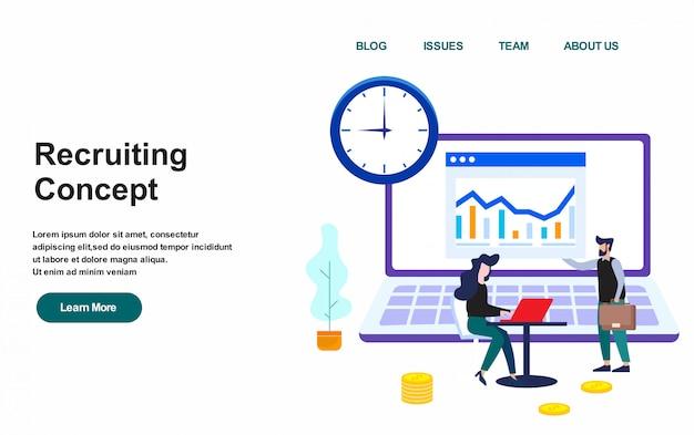 Websjabloon bestemmingspagina. werven concept vectorillustratie, platte ontwerp Premium Vector