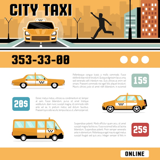 Websjabloon city taxi services Gratis Vector