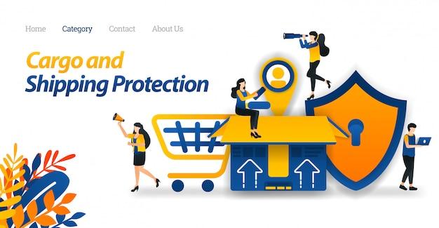 Websjabloon voor bestemmingspagina's voor verzenddiensten bescherm alle soorten pakketten en vracht met maximale beveiliging tot aan het merken van klanten. Premium Vector