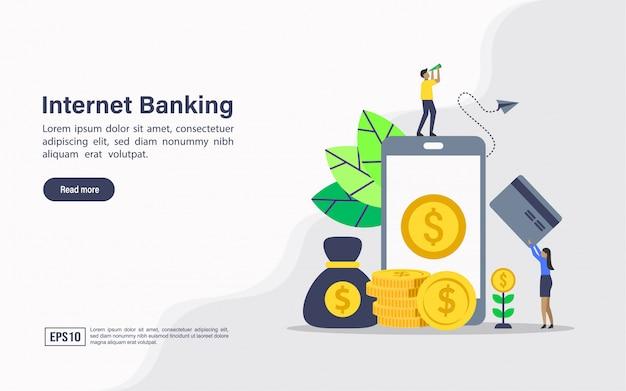 Websjabloon voor bestemmingspagina van internetbankieren Premium Vector