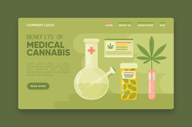 Websjabloon voor medicinale cannabis voordelen Gratis Vector