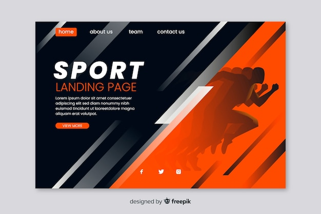 Websjabloon voor sport bestemmingspagina Premium Vector