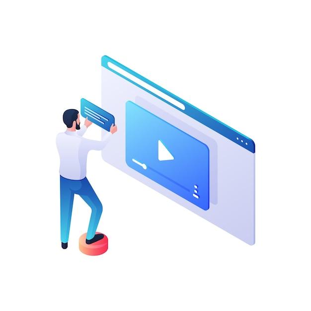 Webvideo-inhoudsbeoordeling isometrische illustratie. mannelijk personage voegt beschrijving en verhaallijn toe aan nieuwe videoclip. moderne online recensies en publieksinvloed op het opvattingsconcept. Premium Vector