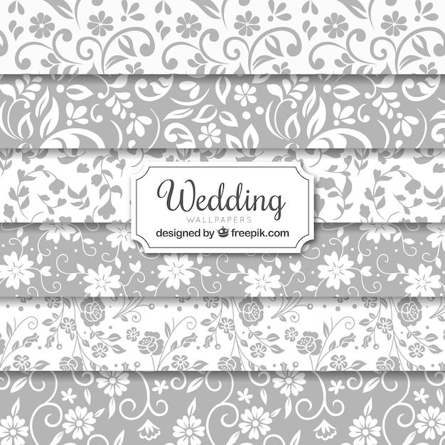 Wedding naadloze achtergronden collection Gratis Vector