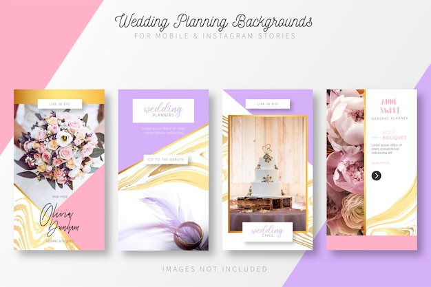 Wedding planning story collection Gratis Vector